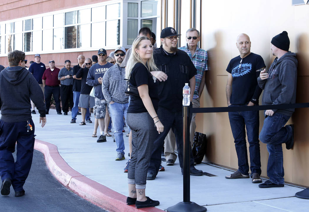 Las Vegas Golden Knights season ticket members lined up outisde City National Center on Friday, Sept. 22, 2017 to receive an exclusive membership kit and home jersey with commemorative items celeb ...