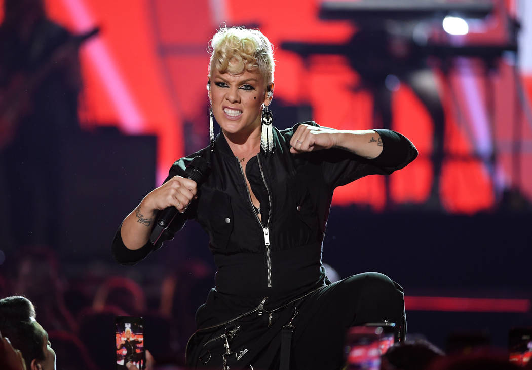Pink performs onstage during the 2017 iHeartRadio Music Festival at T-Mobile Arena on September 22, 2017 in Las Vegas, Nevada.  (Photo by Kevin Winter/Getty Images for iHeartMedia)