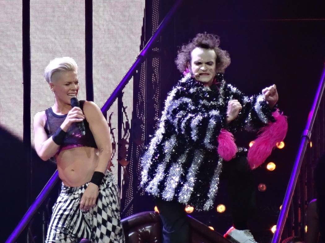 """Jimmy Slonina, as Rubix, performs with Pink during her 2013 """"Truth About Love"""" world tour. (Amy Frazier)"""