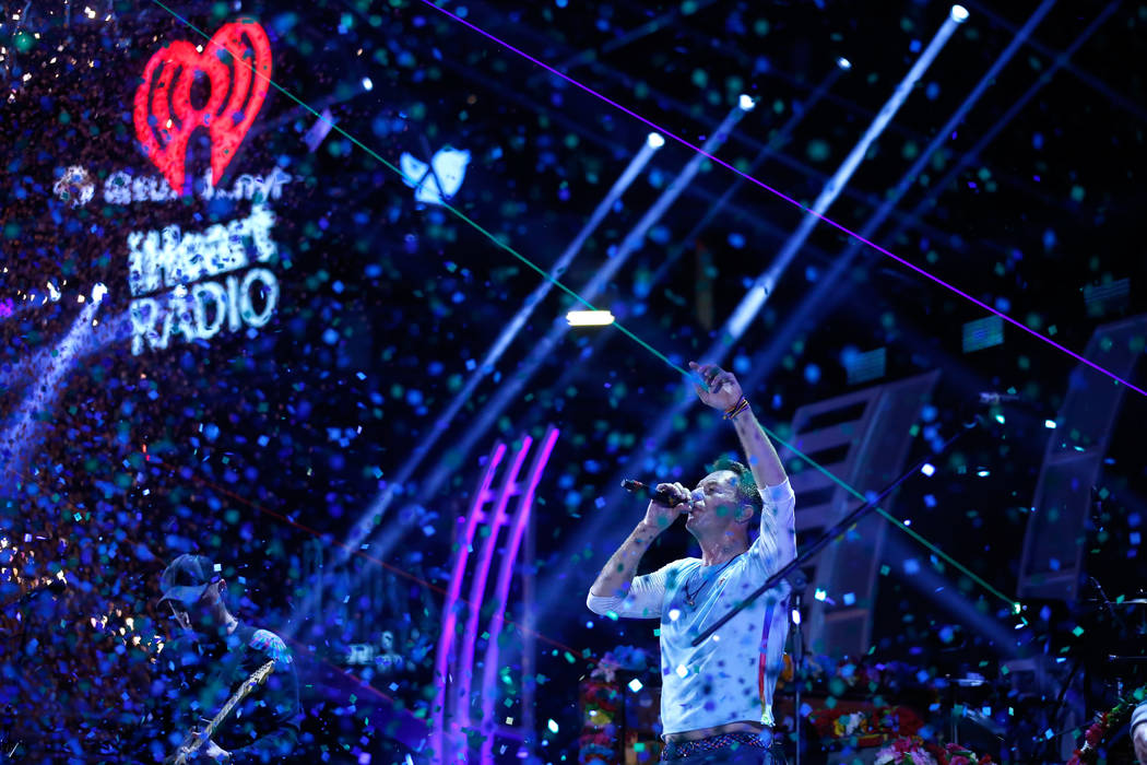 LAS VEGAS, NV - SEPTEMBER 22:  Chris Martin of music group Coldplay performs onstage during the 2017 iHeartRadio Music Festival at T-Mobile Arena on September 22, 2017 in Las Vegas, Nevada.  (Phot ...