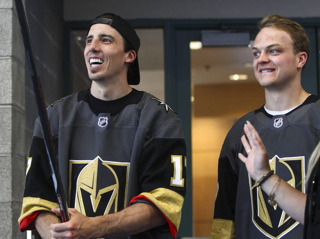 Vegas Golden Knights' Marc-Andre Fleury, left, and Reid Duke arrive for a street hockey clinic for local Las Vegas youth at Paradise Recreation Center, 4775 S. McLeod Drive, on Thursday, June 22,  ...