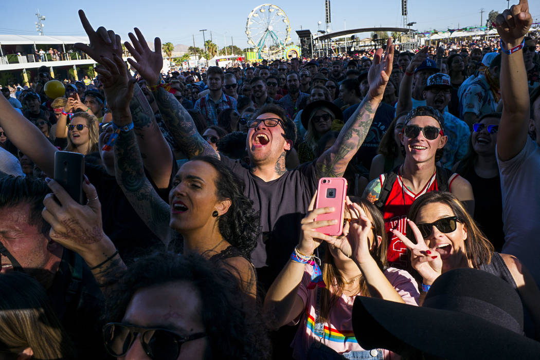 Fans cheer as Dreamcar performs during the first day of the Life is Beautiful festival in downtown in Las Vegas on Friday, Sept. 22, 2017. Chase Stevens Las Vegas Review-Journal @csstevensphoto