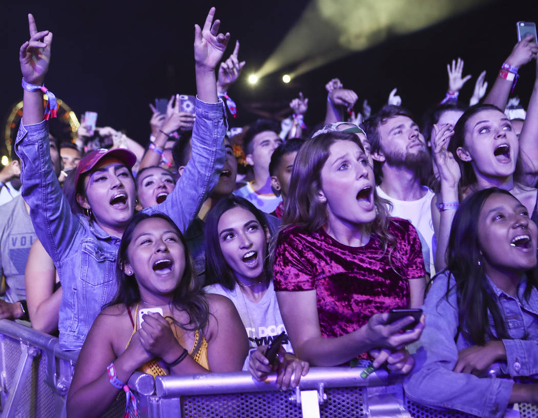 Fans react as Chance the Rapper performs on the first day of the Life is Beautiful festival in downtown in Las Vegas on Friday, Sept. 22, 2017. Chase Stevens Las Vegas Review-Journal @csstevensphoto
