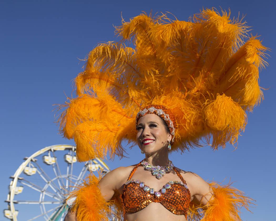 Katrina Currow wearing an outfit from Showoff Costumes at the Downtown Stage during the first day of the Life is Beautiful music and arts festival on Friday, September 22, 2017, in Las Vegas. Benj ...