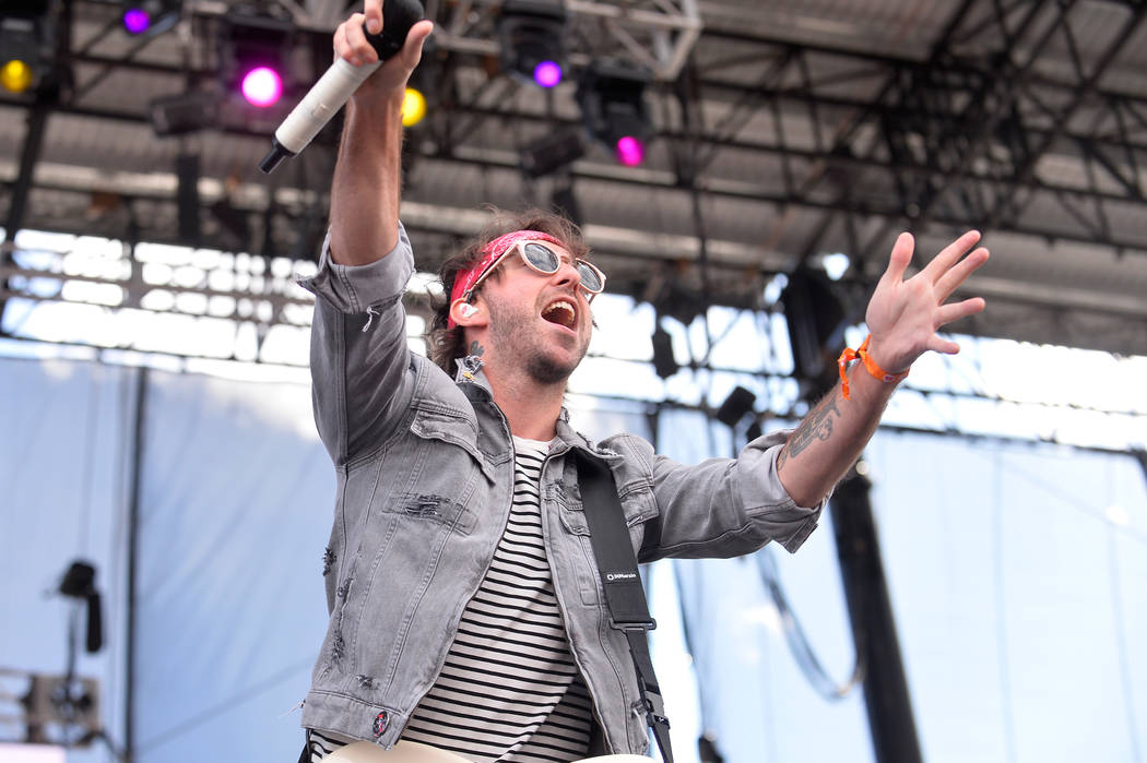 Alex Gaskart of All Time Low performs onstage during the Daytime Village Presented by Capital One at the 2017 HeartRadio Music Festival at the Las Vegas Village on September 23, 2017. (Photo by Br ...