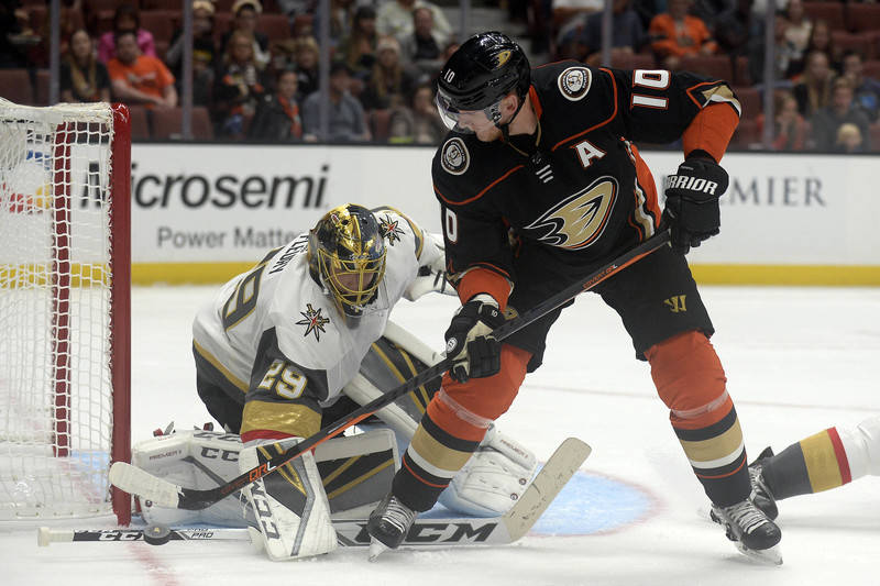September 24, 2017; Anaheim, CA, USA; Vegas Golden Knights goalie Marc-Andre Fleury (29) defends the goal as Anaheim Ducks right wing Corey Perry (10) moves in for a shot during the first period a ...