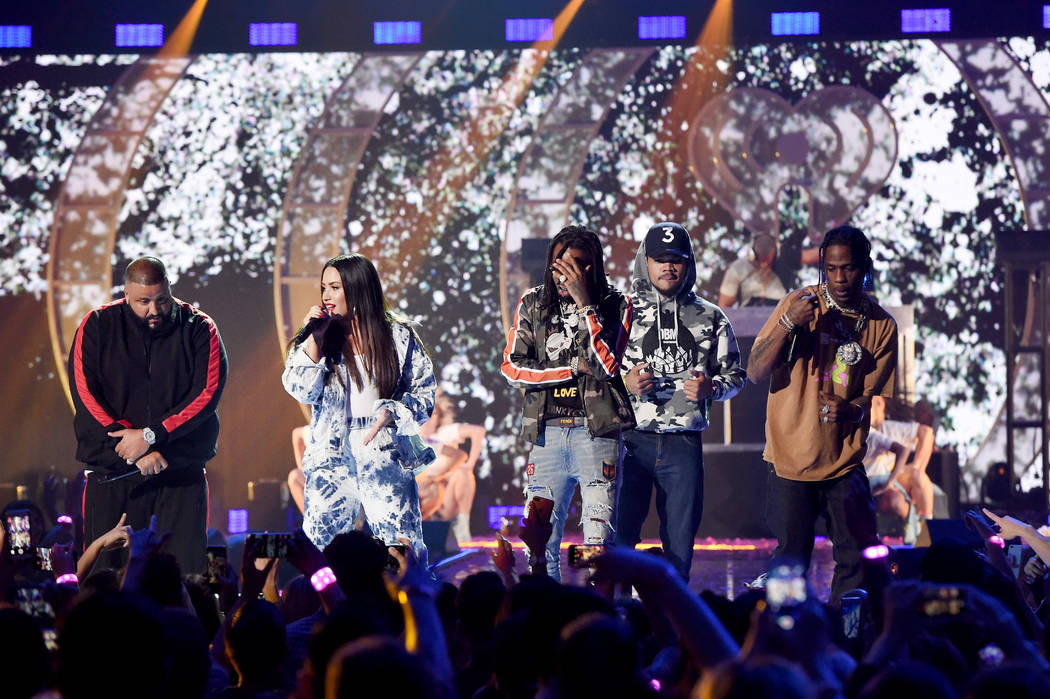 DJ Khaled, Demi Lovato, Quavo, Chance the Rapper, and Travis Scott perform onstage during the 2017 iHeartRadio Music Festival at T-Mobile Arena on September 23, 2017 in Las Vegas, Nevada.  (Photo  ...