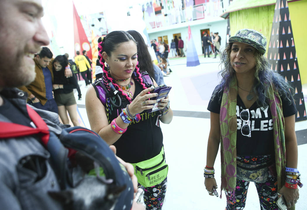 Graham Herbster, from left, Malia Sachiko, and Sona Shah at the Art Motel by Meow Wolf during the second day of the Life is Beautiful festival in downtown Las Vegas on Saturday, Sept. 23, 2017. Ch ...