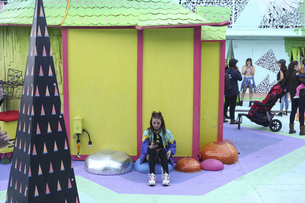 An attendee relaxes at the Art Motel by Meow Wolf during the second day of the Life is Beautiful festival in downtown Las Vegas on Saturday, Sept. 23, 2017. Chase Stevens Las Vegas Review-Journal  ...