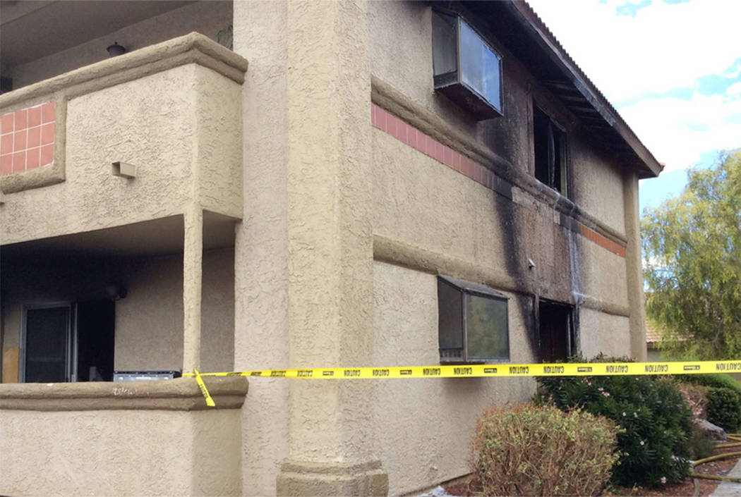 Scene of a fire at the Marquesa Condos, 7300 Pirates Cove Road, in Las Vegas on Saturday. (Las Vegas Fire Department)