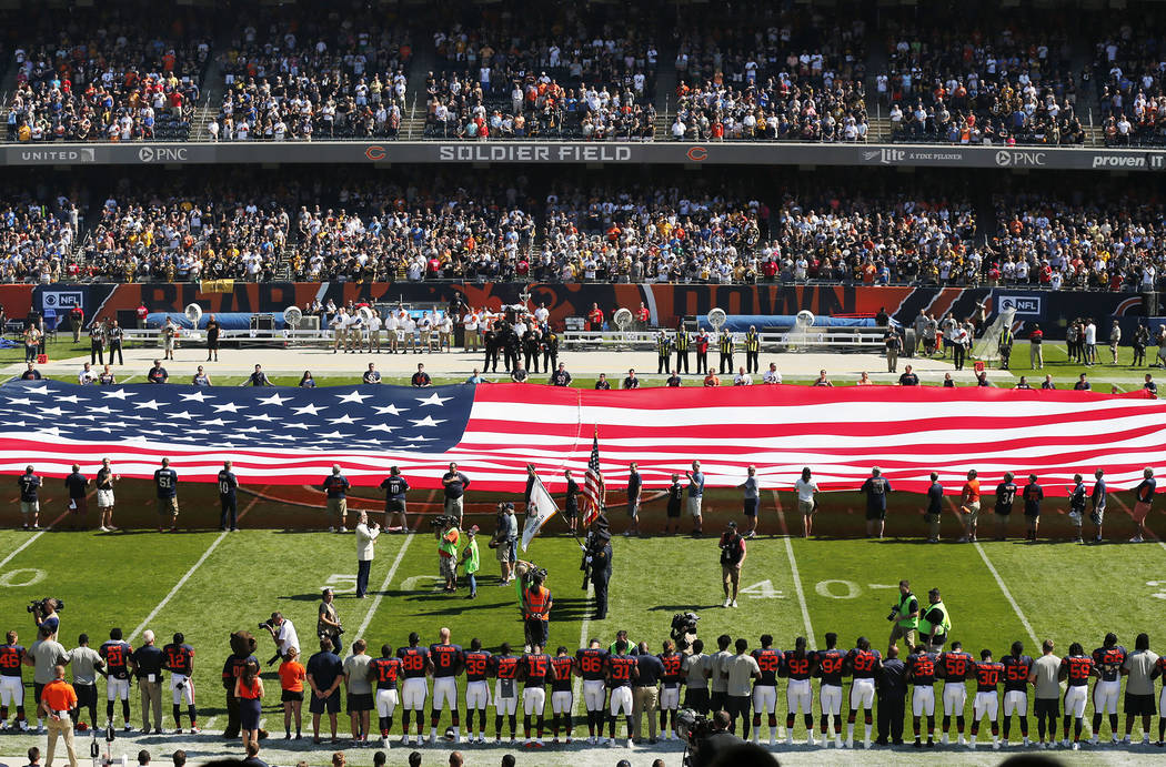 The Pittsburgh Steelers side of the field is nearly empty during the playing of the national anthem before an NFL football game between the Steelers and Chicago Bears, Sunday, Sept. 24, 2017, in C ...