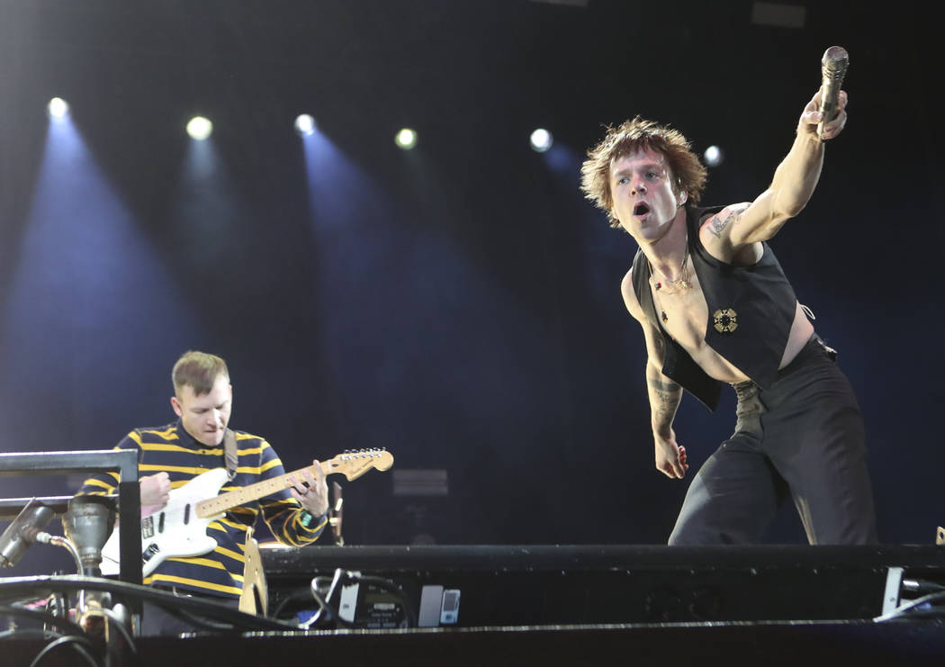 Brad Shultz, left, and Matt Shultz of Cage the Elephant performs at the Downtown stage during the second day of the Life is Beautiful festival in downtown Las Vegas on Saturday, Sept. 23, 2017. Ch ...
