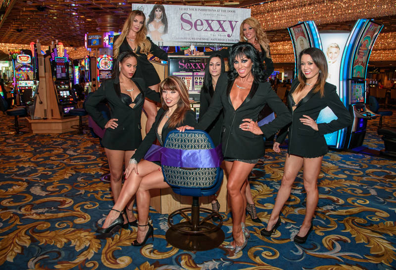 "Jennifer Romas, creator of ""Sexxy,"" is shown with the cast of the show at Westgate Las Vegas on Saturday, Sept. 23, 2017. (Pat Gray/Erik Kabik Photography)"