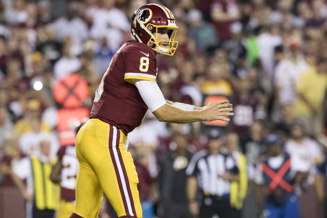 Washington Redskins quarterback Kirk Cousins (8) prepares to throw the football in the first half of their game against the Oakland Raiders in Landover, Maryland, Sunday, Sept. 24, 2017. Heidi Fan ...