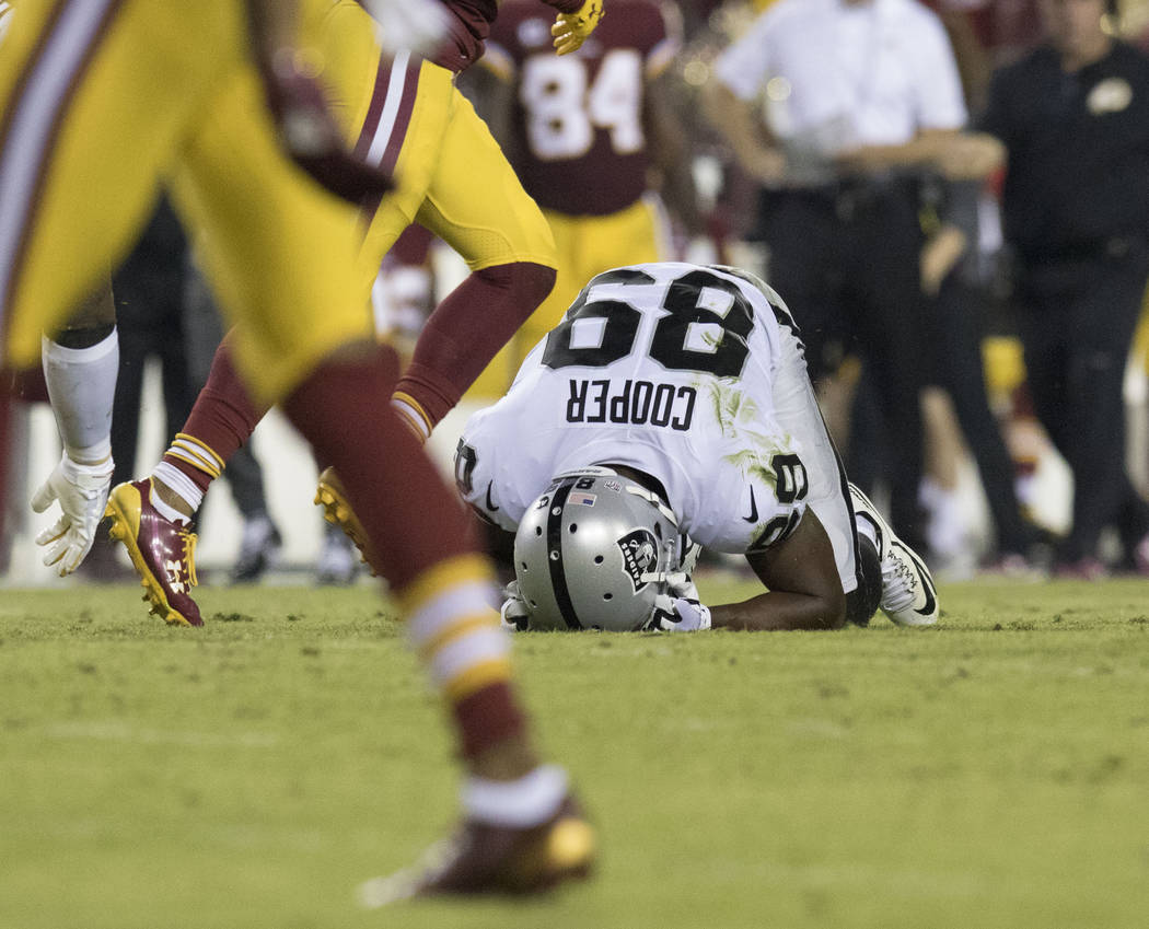 Oakland Raiders wide receiver Amari Cooper (89) after an incomplete pass in the first half of their game against the Washington Redskins in Landover, Md., Sunday, Sept. 24, 2017. Heidi Fang Las Ve ...