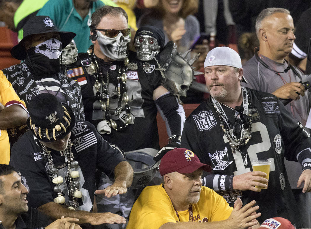 Oakland Raiders fans before the game against the Washington Redskins at the FedEx Field in Landover, Md., Sunday, Sept. 24, 2017. Heidi Fang Las Vegas Review-Journal @HeidiFang