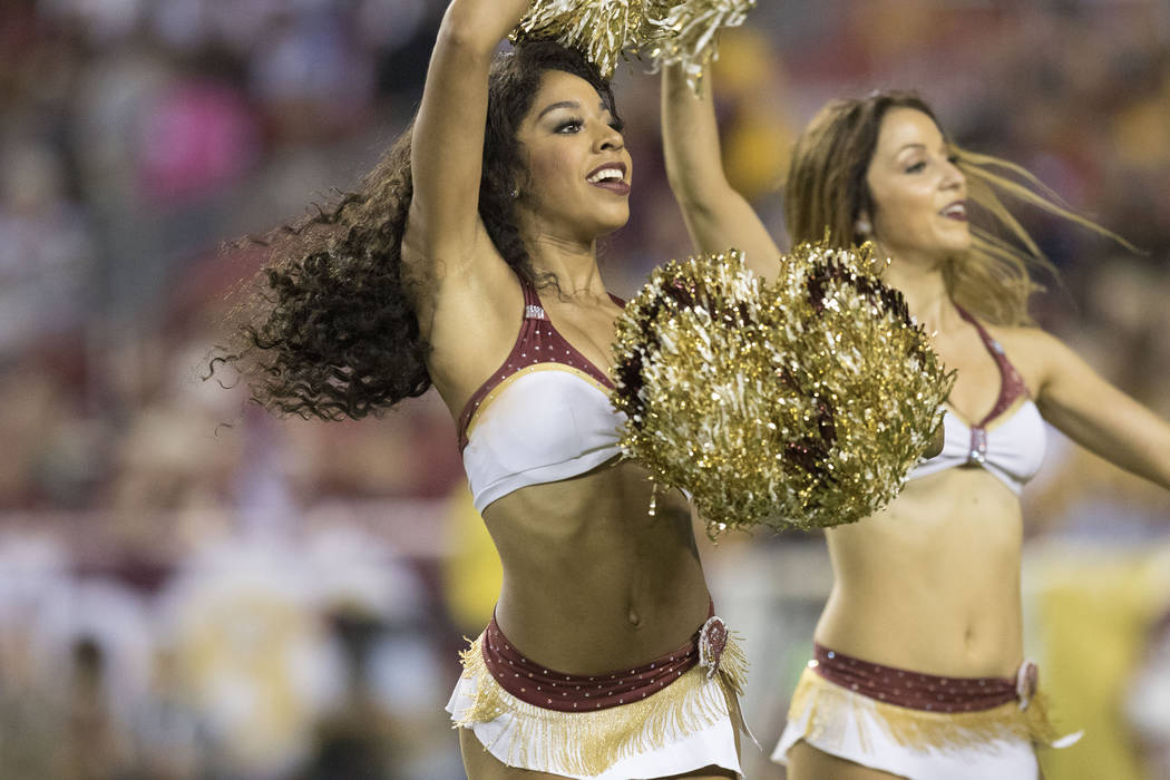 Washington Redskins cheerleaders before the game against the Oakland Raiders at FedEx Field in Landover, Md., Sunday, Sept. 24, 2017. Heidi Fang Las Vegas Review-Journal @HeidiFang