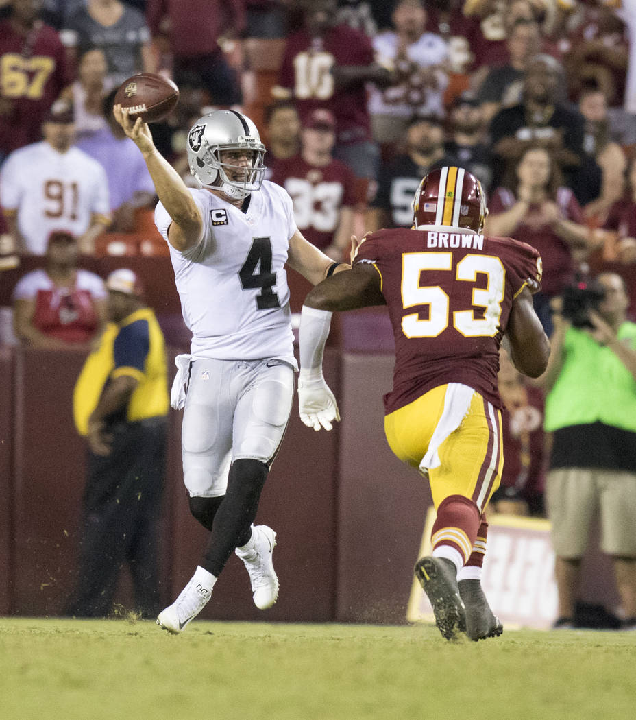 Oakland Raiders quarterback Derek Carr (4) throws the football as Washington Redskins inside linebacker Zach Brown (53) rushes towards him in the second half of their game in Landover, Md., Sunday ...