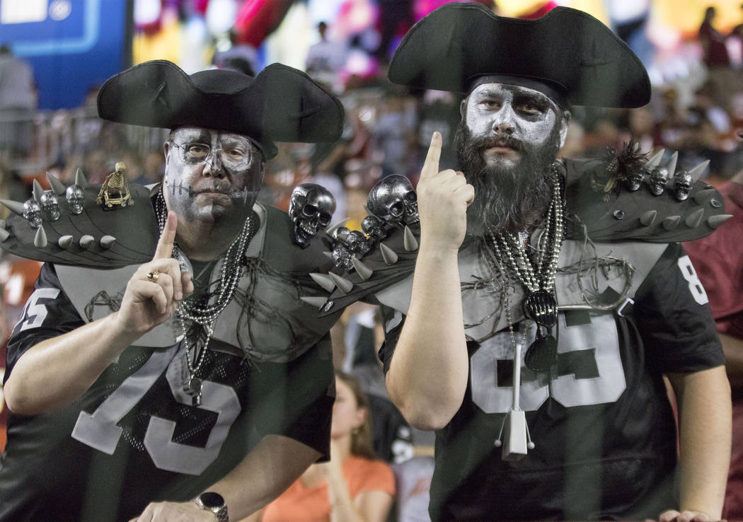Oakland Raiders fans before the game against the Washington Redskins in Landover, Md., Sunday, Sept. 24, 2017. Heidi Fang Las Vegas Review-Journal @HeidiFang
