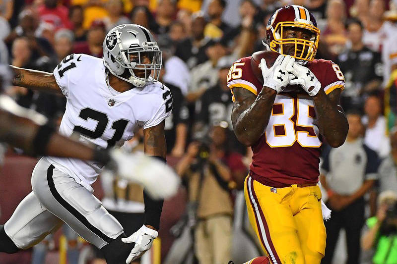 cb72134249f Raiders tight end horrors continue for defense in loss to Redskins ...