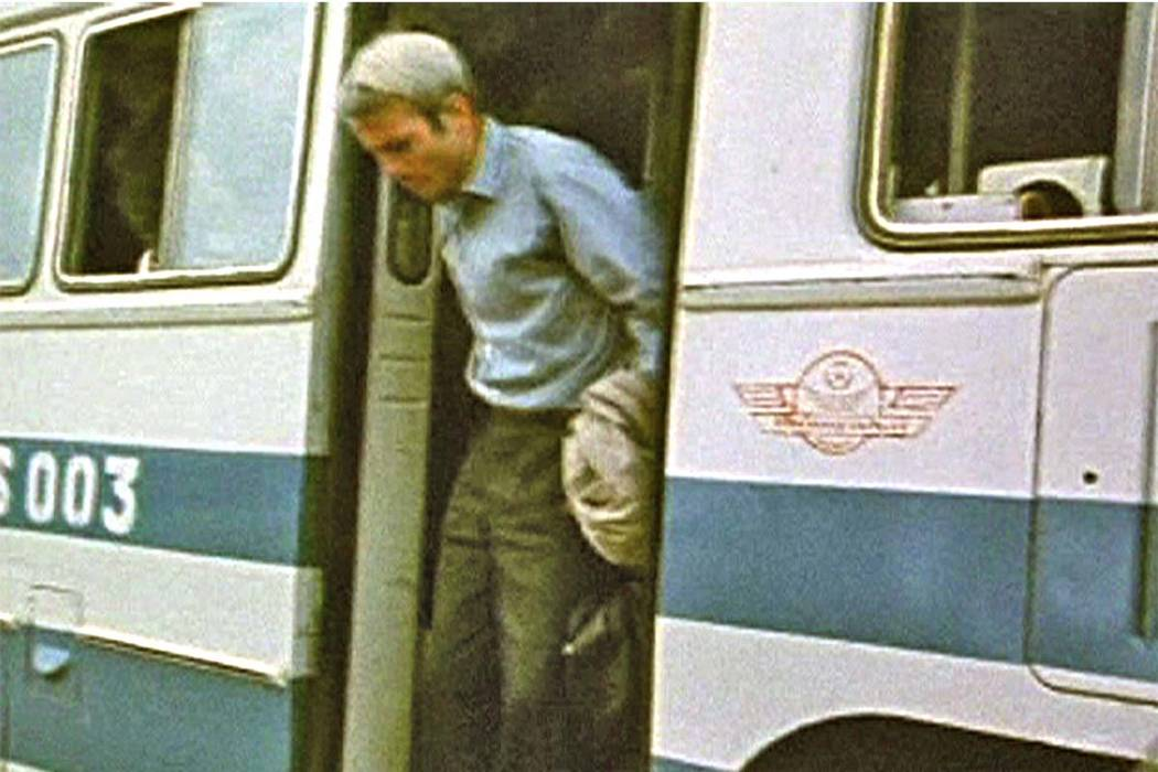 This still from video obtained exclusively by Associated Press Television News shows Republican presidential candidate and then prisoner of war John McCain stepping off a bus as he and other POWs  ...