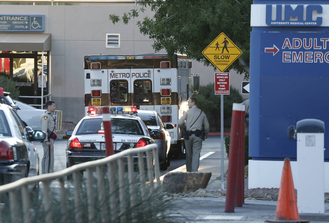 Las Vegas police investigate after one person died in an officer-involved shooting at University Medical Center on Monday, Sept. 25, 2017, in Las Vegas. Bizuayehu Tesfaye Las Vegas Review-Journal  ...