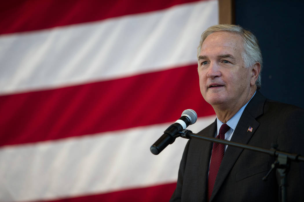 Luther Strange speaks during a debate ahead of the U.S. Senate race Thursday, Sept. 21 2017, in Montgomery, Ala. It is the only debate between the Strange and Roy Moore ahead of Tuesday's GOP runo ...