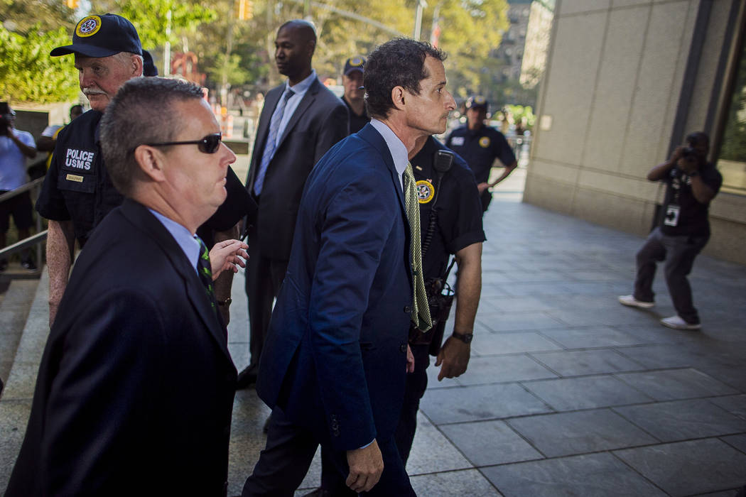 Former Congressman Anthony Weiner, D-N.Y., arrives at federal court for his sentencing hearing in a sexting scandal, Monday, Sept. 25, 2017, in New York. (Andres Kudacki/AP)