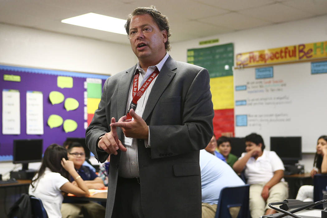 Clark County School District Superintendent Pat Skorkowsky during the first day of classes at Garside Junior High School in Las Vegas on Monday, Aug. 14, 2017.  Chase Stevens Las Vegas Review-Jour ...