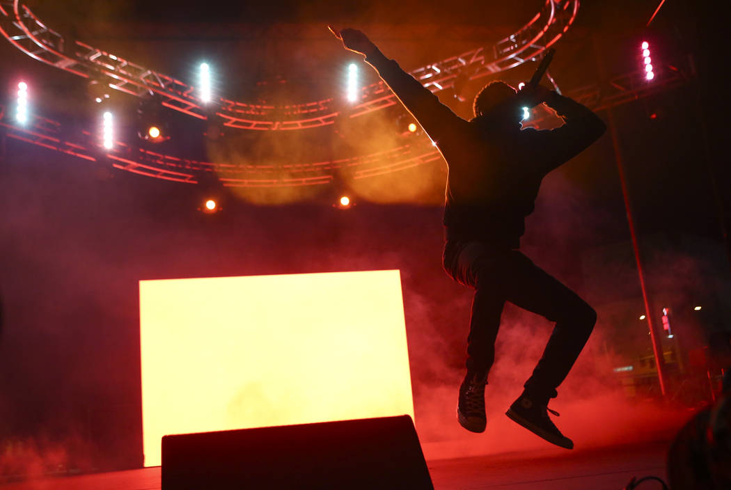 Vince Staples performs at the Huntridge stage during the final day of the Life is Beautiful festival in downtown Las Vegas on Sunday, Sept. 24, 2017. Chase Stevens Las Vegas Review-Journal @csstev ...