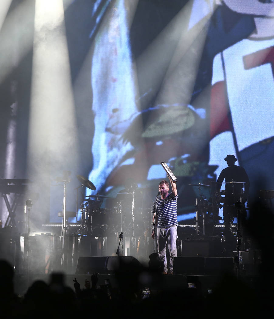 Damon Albarn of Gorillaz performs at the Downtown stage during the final day of the Life is Beautiful festival in downtown Las Vegas on Monday, Sept. 25, 2017. Chase Stevens Las Vegas Review-Journ ...