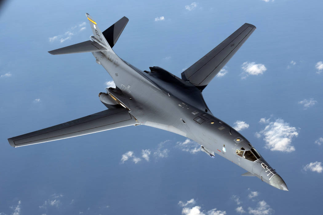 A U.S. Air Force B1-B Lancer pulls away from a KC-135 Stratotanker after refueling during a mission from Andersen Air Force Base, Guam, into Japanese air space on Aug. 31, 2017. (Senior Airman Joh ...