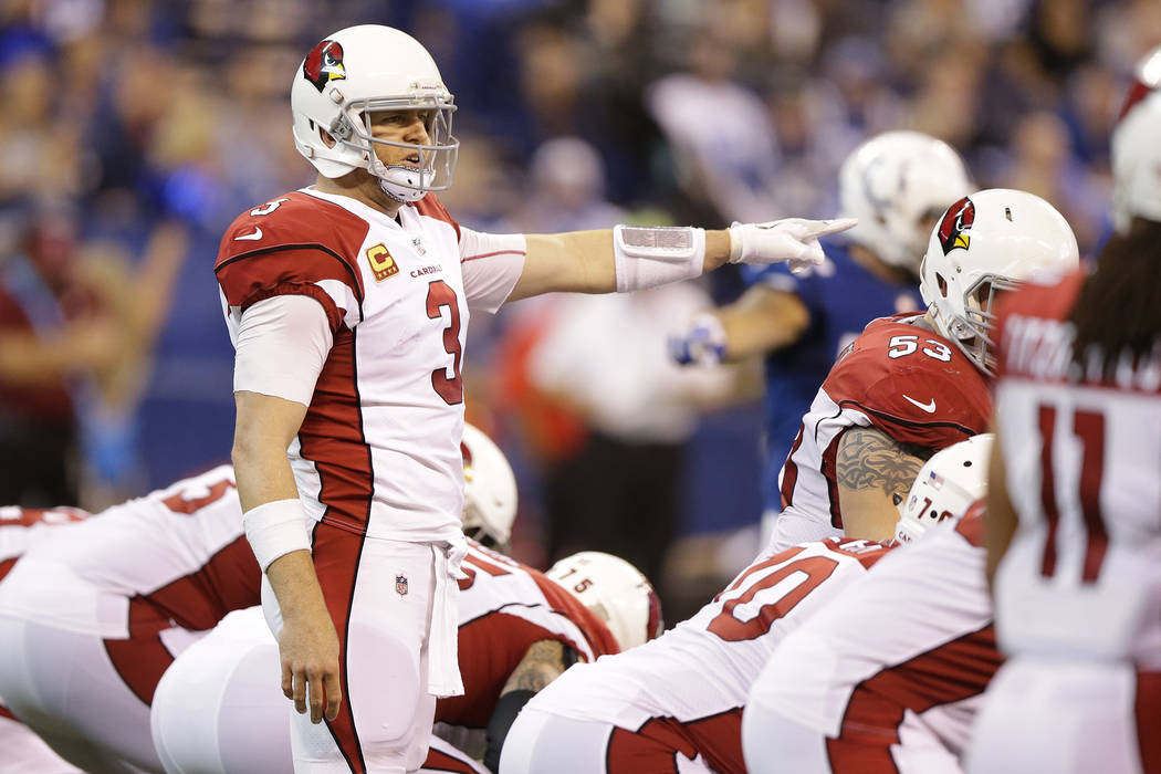 Arizona Cardinals quarterback Carson Palmer (3) calls a play during the second half of an NFL football game against the Indianapolis Colts, Sunday, Sept. 17, 2017, in Indianapolis. (AP Photo/Micha ...