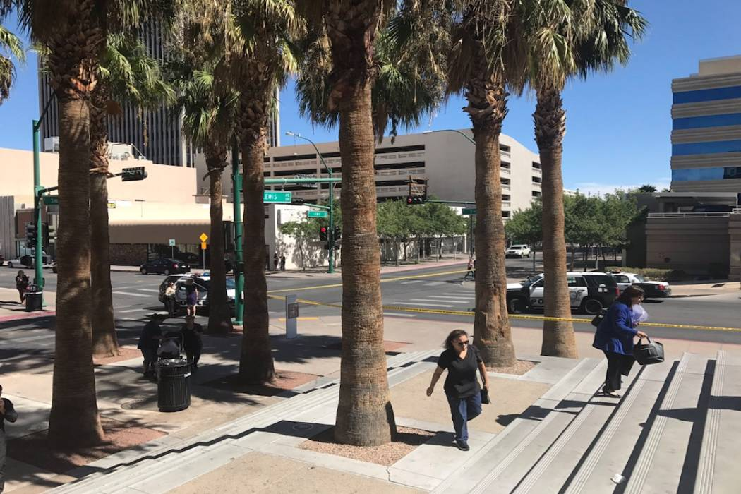 Las Vegas police investigate near the Regional Justice Center in downtown Las Vegas on Monday, Sept. 25, 2017. (Rachel Crosby/Las Vegas Review-Journal)