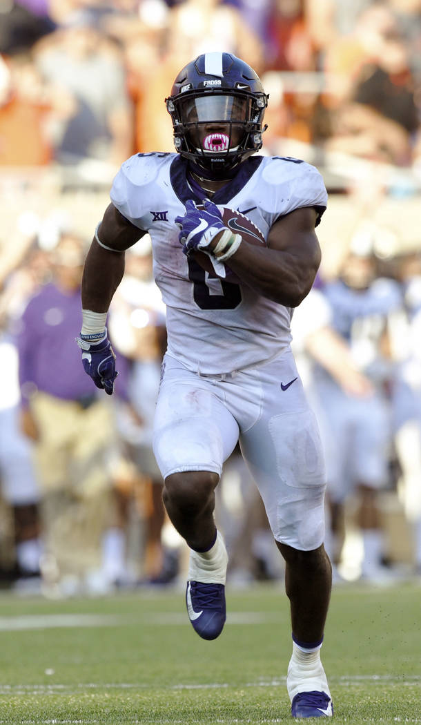TCU Darius Anderson runs 42 yards for a touchdown in the last quarter of play in Stillwater, Okla., Saturday, Sept. 23, 2017. Anderson had 3 touchdowns and 160 yards in the 44-31 win over Oklahoma ...