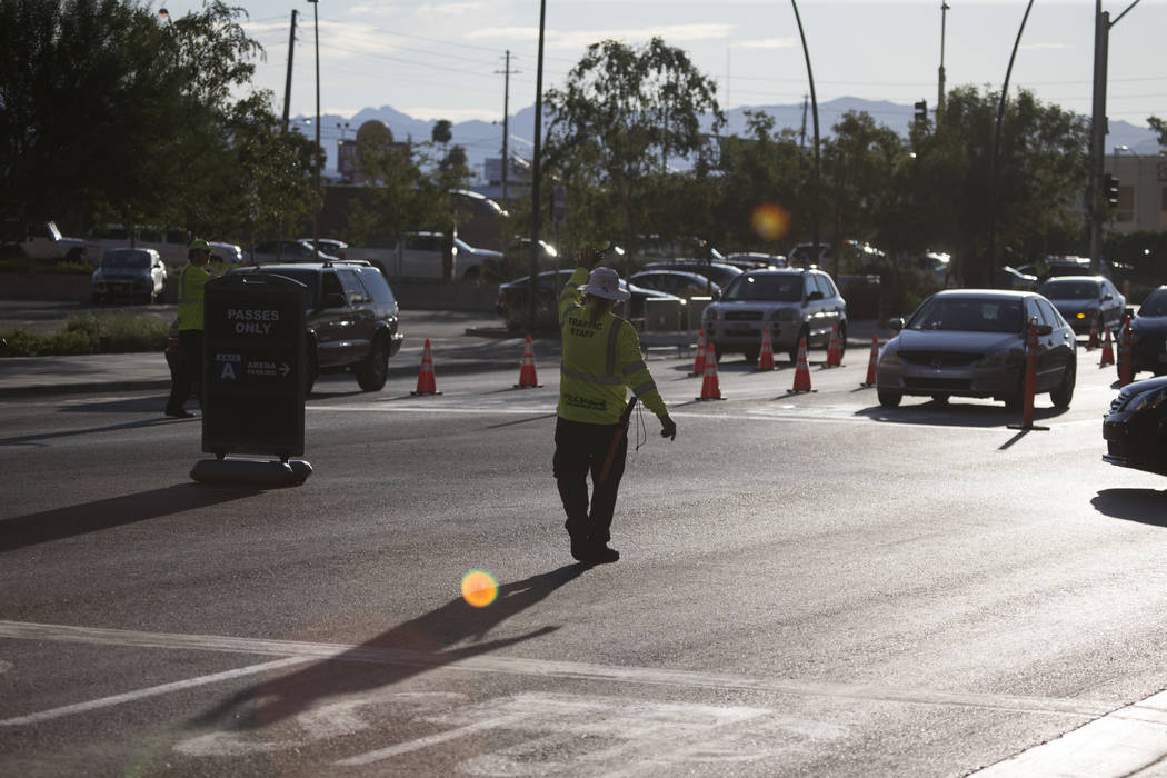 Traffic outside of T-Mobile Arena before the first preseason home game for the Vegas Golden Knights in Las Vegas, Tuesday, Sept. 26, 2017. Erik Verduzco Las Vegas Review-Journal @Erik_Verduzco