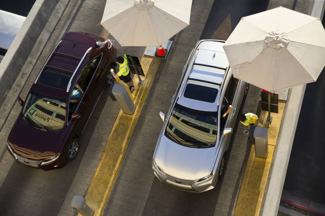 Traffic outside of the New York-New York parking garage near T-Mobile Arena before the first preseason home game for the Vegas Golden Knights in Las Vegas, Tuesday, Sept. 26, 2017. Erik Verduzco L ...