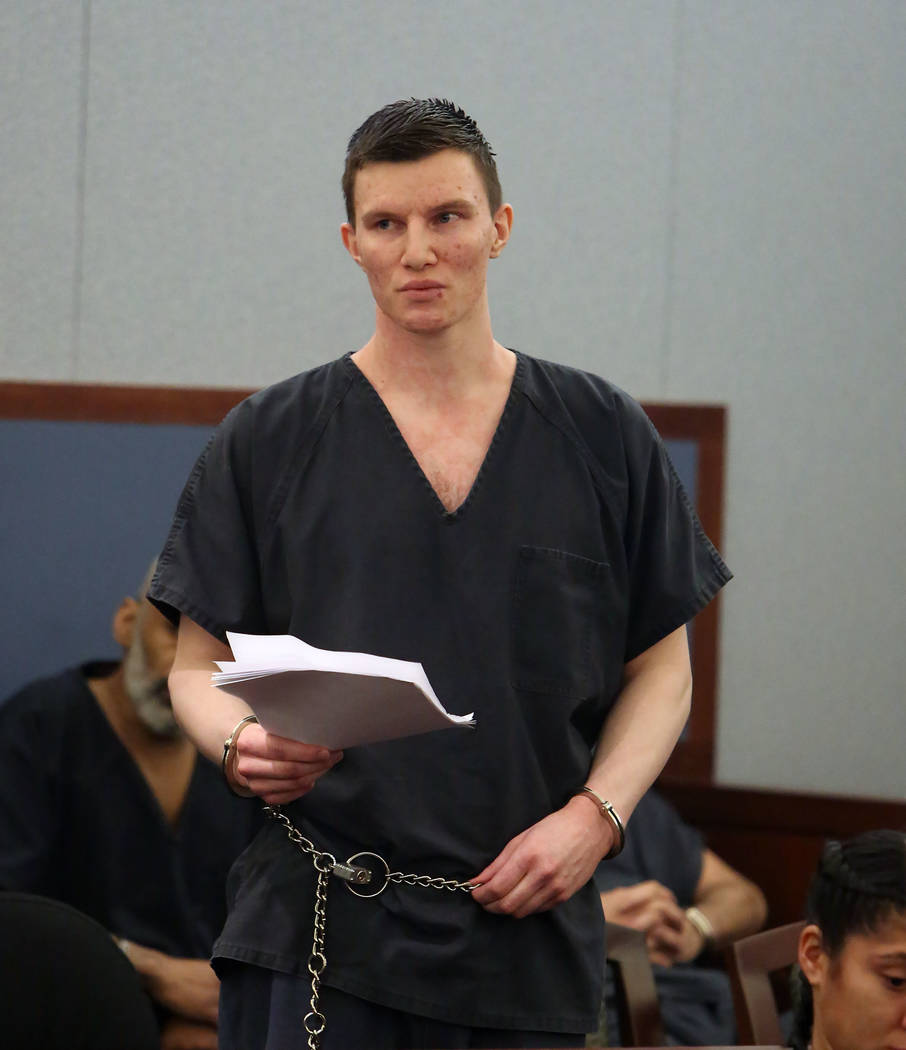 Mason Fritz looks toward his family as he reads a letter, asking for forgiveness, during his sentencing at the Regional Justice Center on Tuesday, Sept. 26, 2017, in Las Vegas. Fritz fatally stabb ...