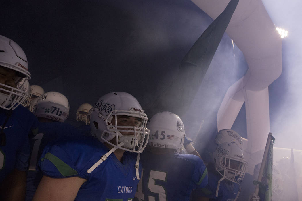 Green Valley players prepare to enter their field prior to their game against Liberty at Green Valley High School in Henderson, Thursday, Sept. 28, 2017. Bridget Bennett Las Vegas Review-Journal @ ...