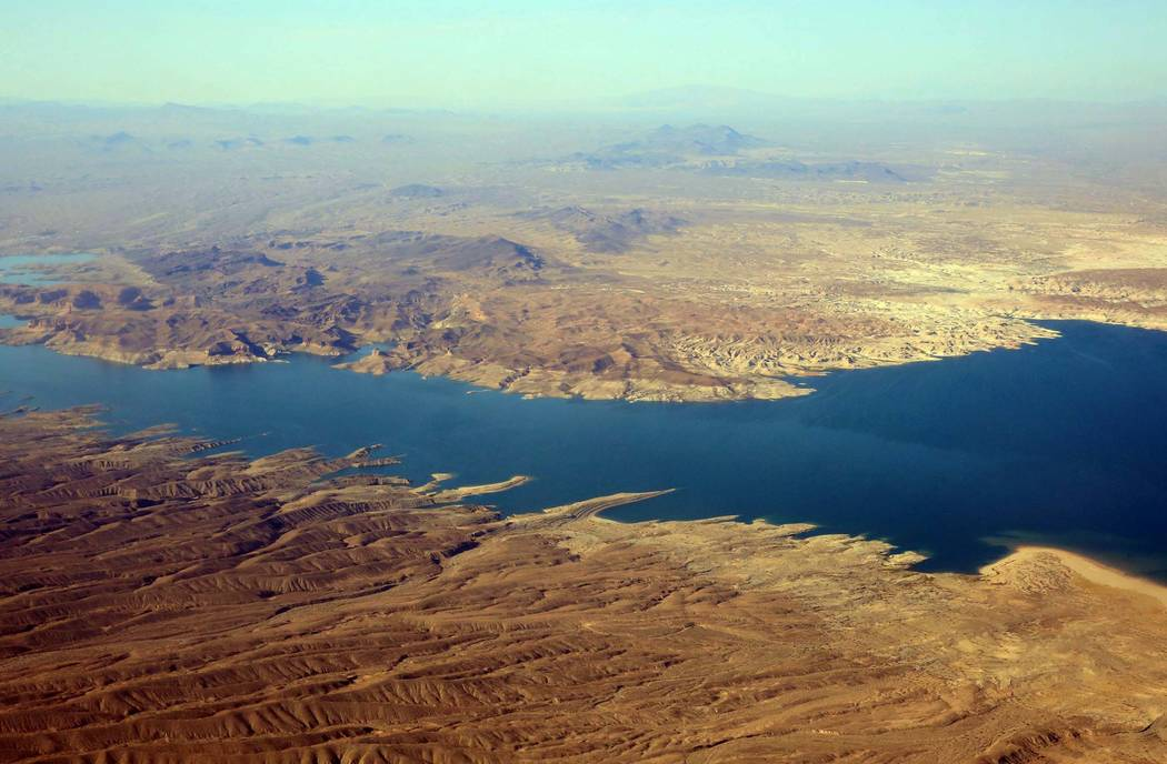 An aerial photo of Lake Mead Recreation Area on Friday, July 21, 2017, in Lake Mead near Arizona border. Bizuayehu Tesfaye Las Vegas Review-Journal @bizutesfaye