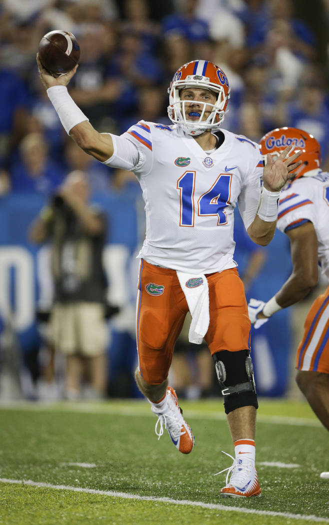 File-This Sept. 23, 2017, file photo shows Florida quarterback Luke Del Rio throwing a pass during the second half of an NCAA college football game against Kentucky in Lexington, Ky. No. 21 Florid ...