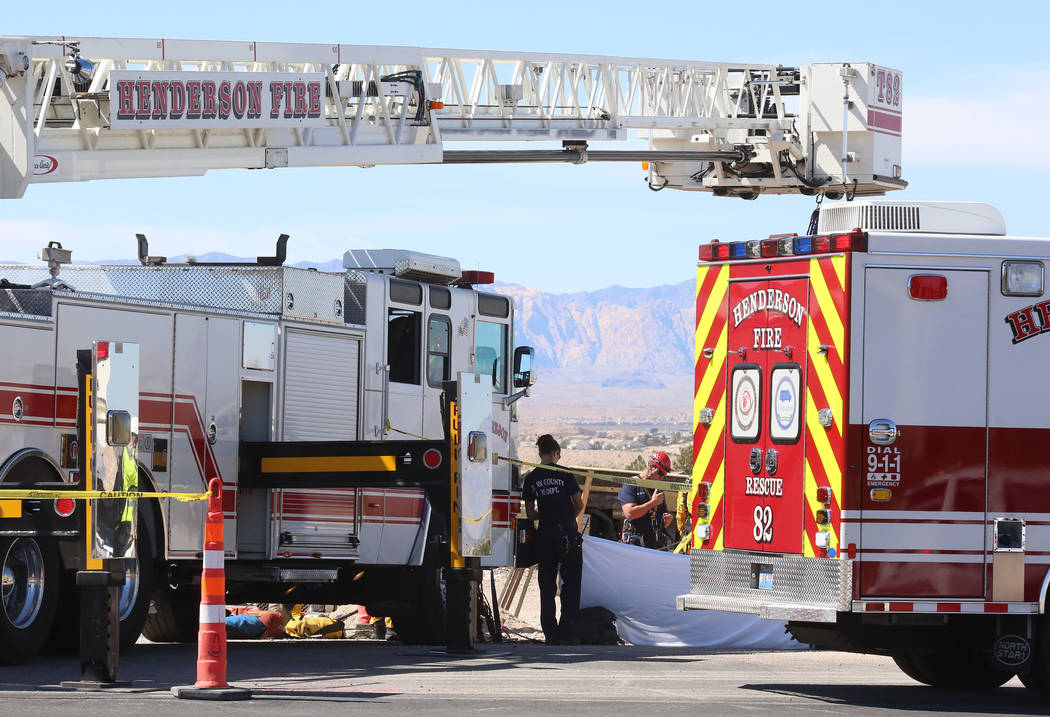 Henderson firefighters at the scene of a fatal construction accident on Johnathan Drive and Las Vegas Boulevard on Monday Sept. 25, 2017, in Las Vegas. (Bizuayehu Tesfaye/Las Vegas Review-Journal) ...