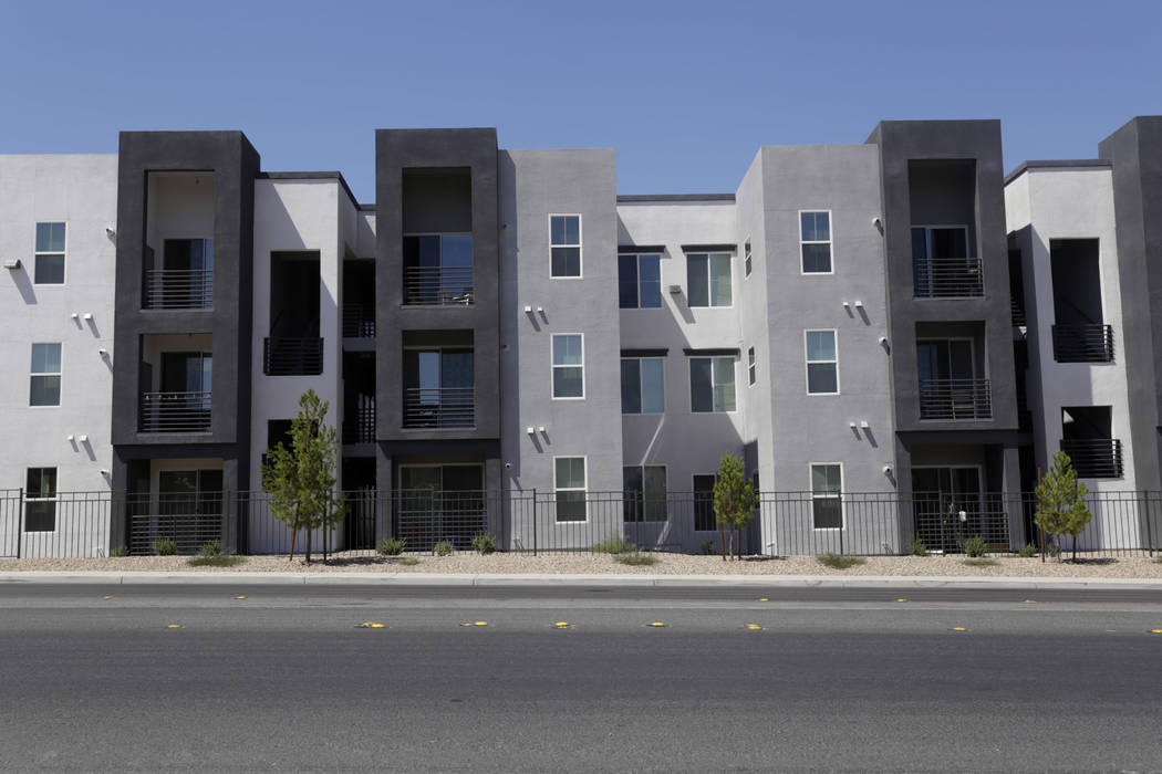 The back of the Elysian West apartment complex, located at the intersection of South Jerry Tarkanian Way and West Hacienda Avenue in Las Vegas, Wednesday, Aug. 2, 2017. (Gabriella Angotti-Jones/La ...