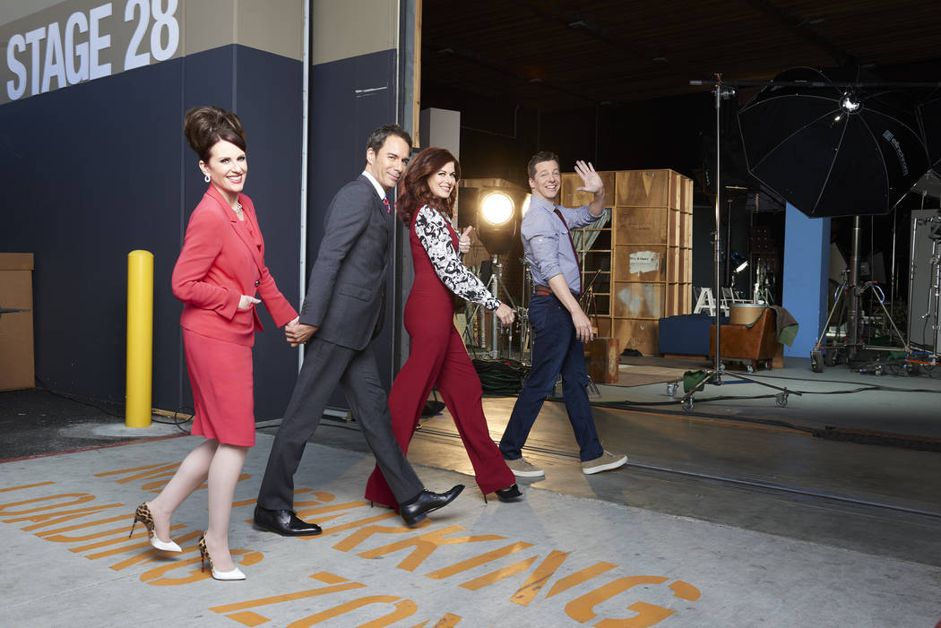 WILL & GRACE -- Season: 1 -- Pictured: (l-r) Megan Mullally as Karen Walker, Eric McCormack as Will Truman, Debra Messing as Grace Adler, Sean Hayes as Jack McFarland -- (Photo by: Andrew Eccl ...