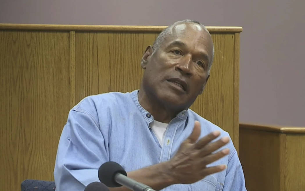 Former NFL football star O.J. Simpson appears via video for his parole hearing at the Lovelock Correctional Center in Nevada on Thursday, July 20, 2017. (Lovelock Correctional Center via AP)