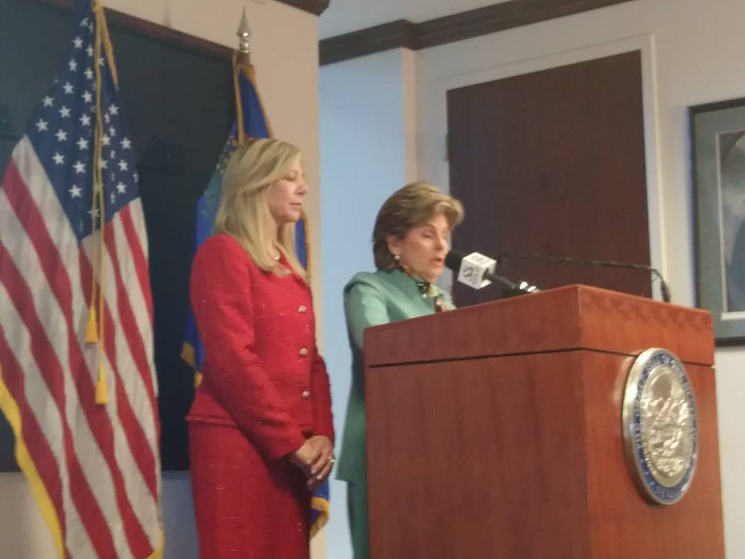 Attorney Gloria Allred, right, and Nevada Assemblywoman Lisa Krasner, R-Reno, talk Tuesday in the Legislative Building in Carson City about a proposed law that would require the Nevada Parole Boar ...