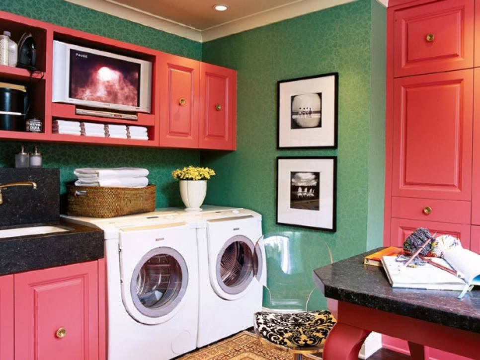 Soleil Design Bright colors are replacing white walls in laundry rooms.