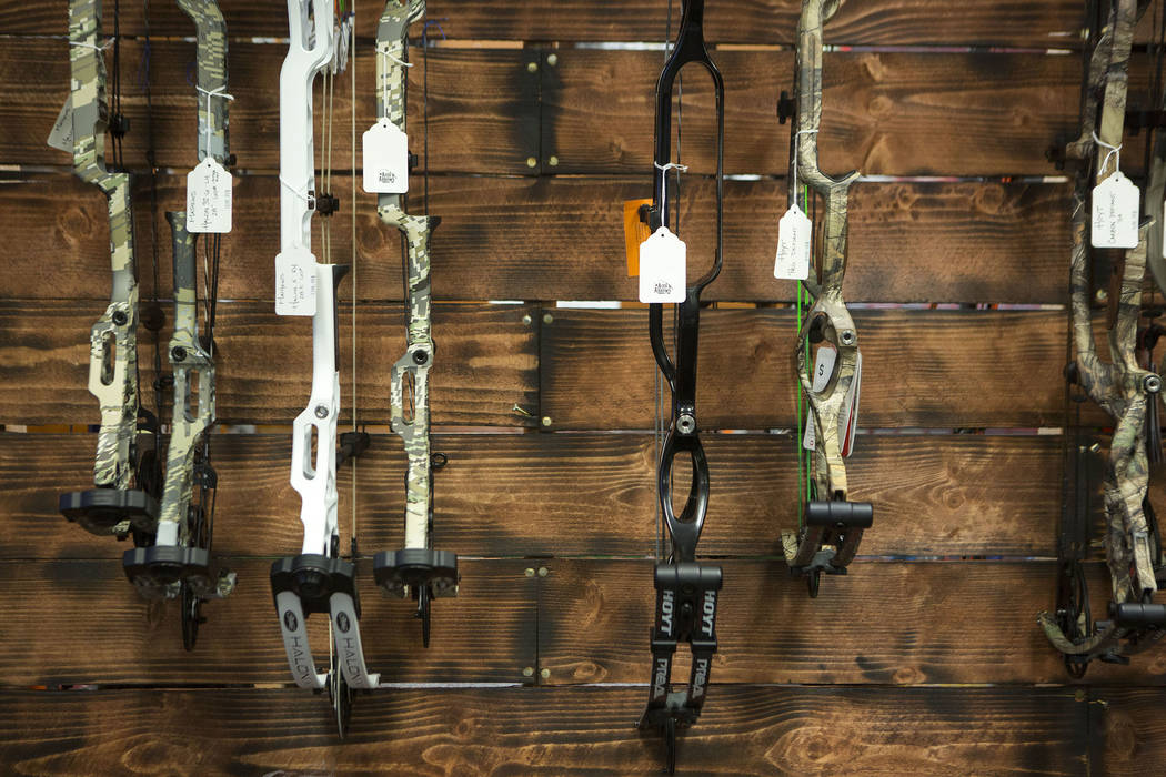 Bows hang at Aces and Arrows in Henderson, Thursday, Sept. 28, 2017. Bridget Bennett Las Vegas Review-Journal @BridgetKBennett