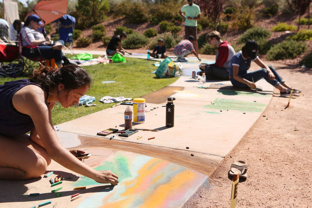 Nadya Trujillo, 16,  works on her chalk art in part of Chalk and Cheers at Skye Canyon Park in Las Vegas, Saturday, Sept. 30, 2017. Bridget Bennett Las Vegas Review-Journal @Bridgetkbennett