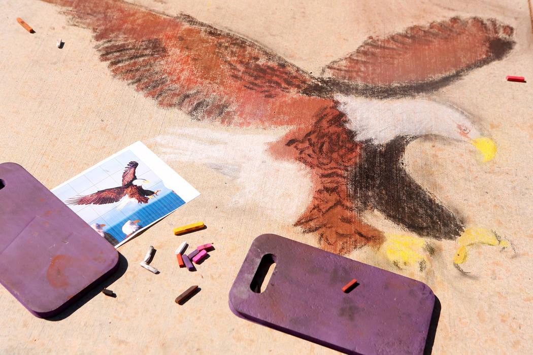 A work of chalk art on a sidewalk in part of Chalk and Cheers Skye Canyon Park in Las Vegas, Saturday, Sept. 30, 2017. Bridget Bennett Las Vegas Review-Journal @Bridgetkbennett